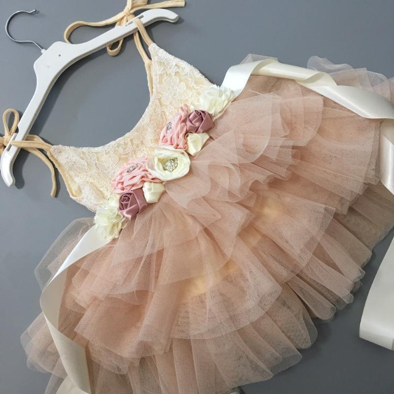 Elegante bebé fajas de flores vestido de la honda muchacha las flores de encaje niños de los niños del vestido del tutú de cumpleaños de la princesa vestido de partido del niño