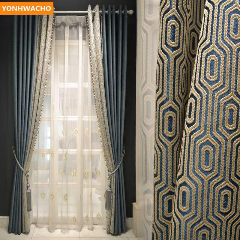 Kundenspezifische Vorhänge Luxus Nordic dick Wohnzimmer High-End-modernes minimalistisches blau Tuch Verdunkelungsvorhang Tüll drapieren B412