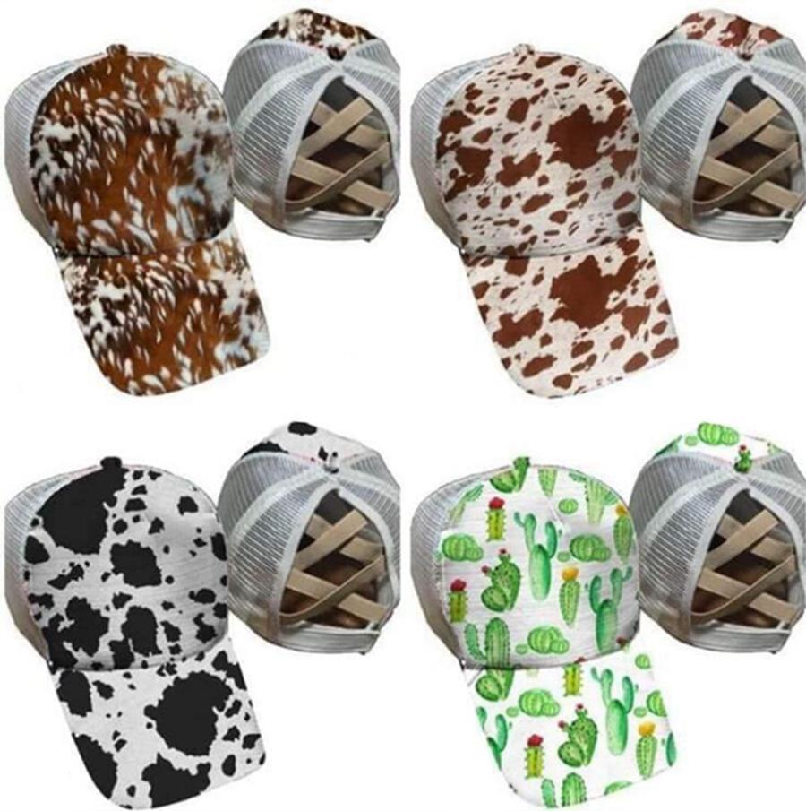 Nueva Cola de caballo gorras de béisbol Cactus vaca impresión de la cadera color de algodón camionero de la malla del casquillo de las mujeres al aire libre Hop Gorro de fiesta DDA554