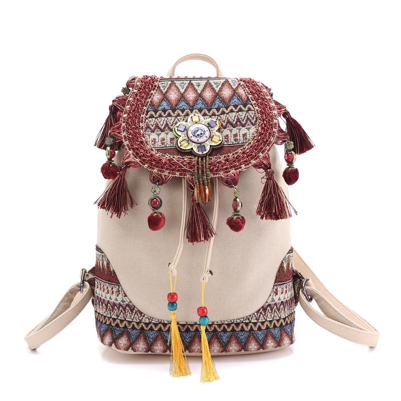 рюкзак для женщин богемского хиппи богемного марочных дамы холст кисточки сумка Хлопок Ткань Сумка этнических сумки ранец