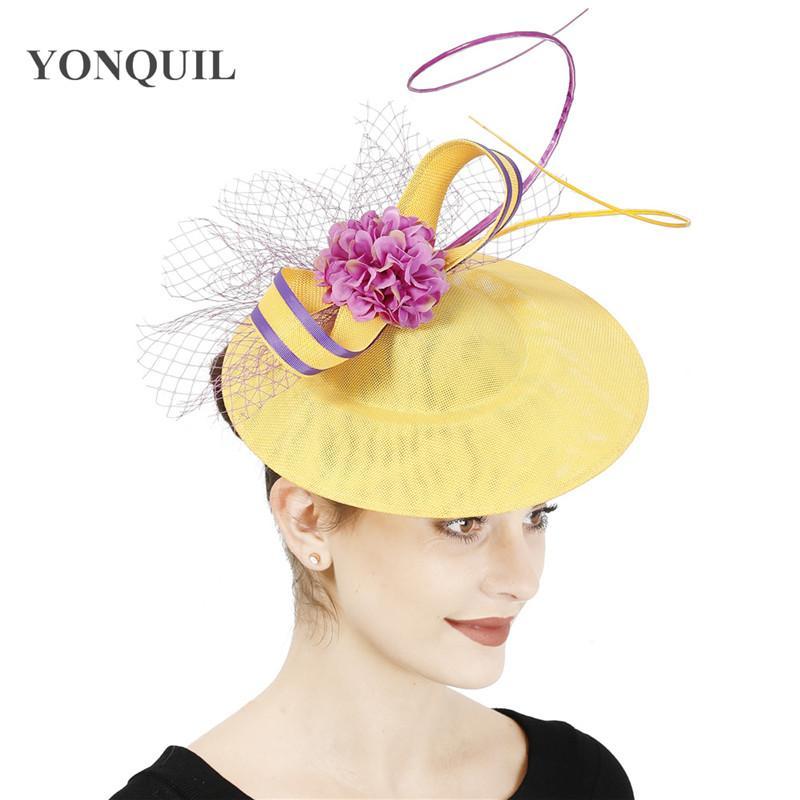 Nouveau jaune design avec chapeau cheveux violet fascinateur maille dames accessoires pour cheveux occasion bandeau fête mariée mariage