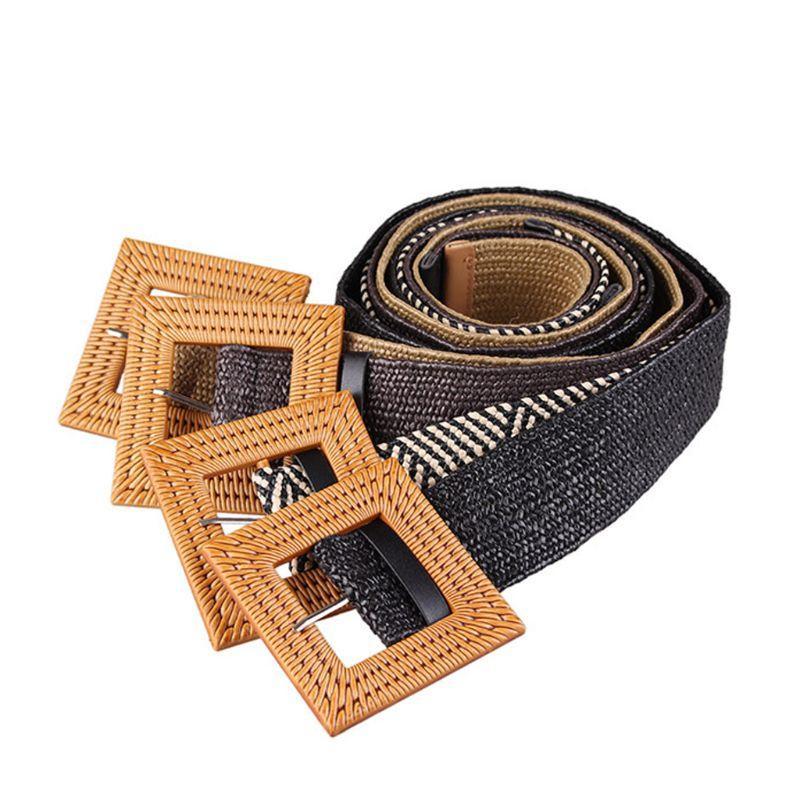 Corda trançada Mulheres cintura Bohemian Vintage Correia Handmade malha tecida Wax ajustável fivela quadrada decorativa cós largo