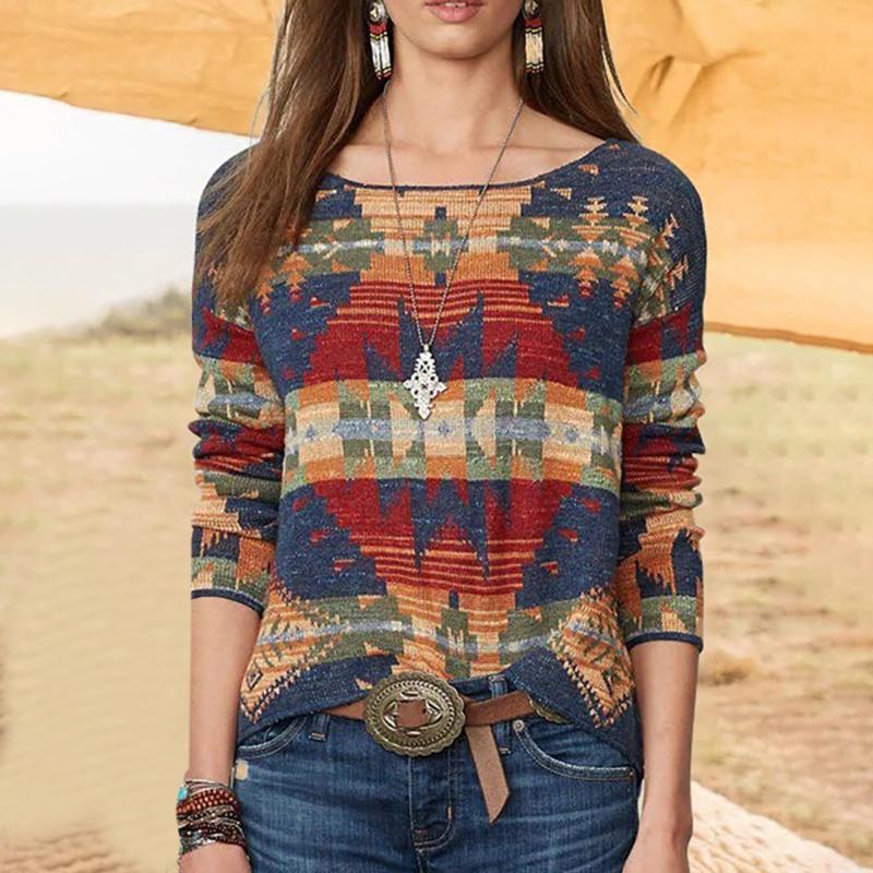 Womens Blusas Casual em torno do pescoço Impresso solto manga comprida Blusa Folk-custom Vintage Imprimir Tops Queda 2020 Mulheres Vestuário # g30