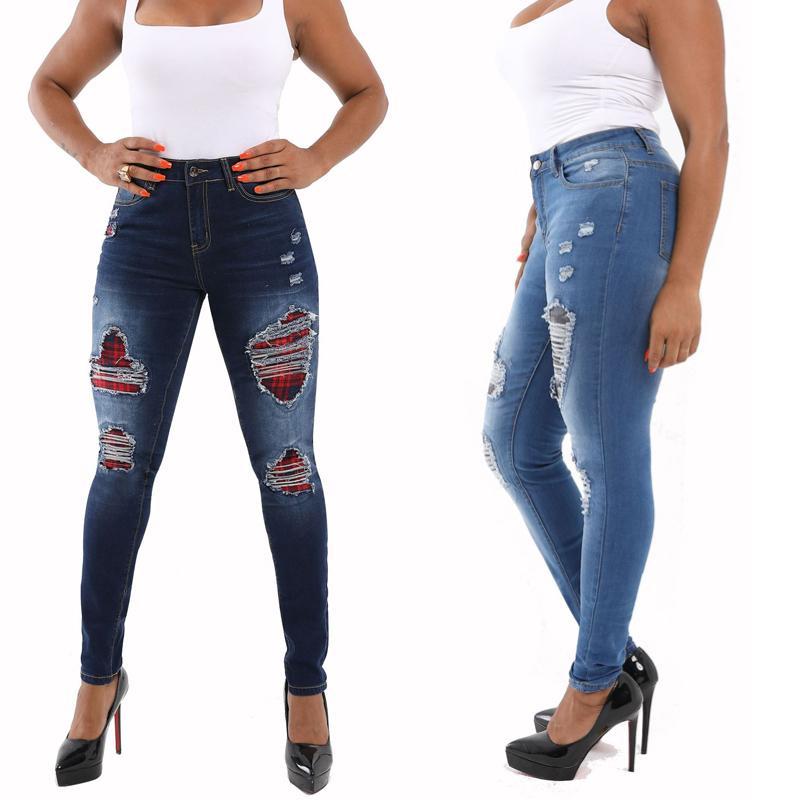Jeans feminino primavera e outono retro senhora buraco mulher moda apertado pés ms. Na cintura lápis calças