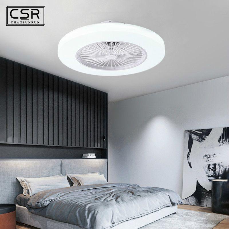 Интеллектуальный светодиодный управления Потолочный вентилятор лампа с Dimming АРР Пульт дистанционного управления Современные вентиляторы для гостиной Комната Потолочный вентилятор Light 220