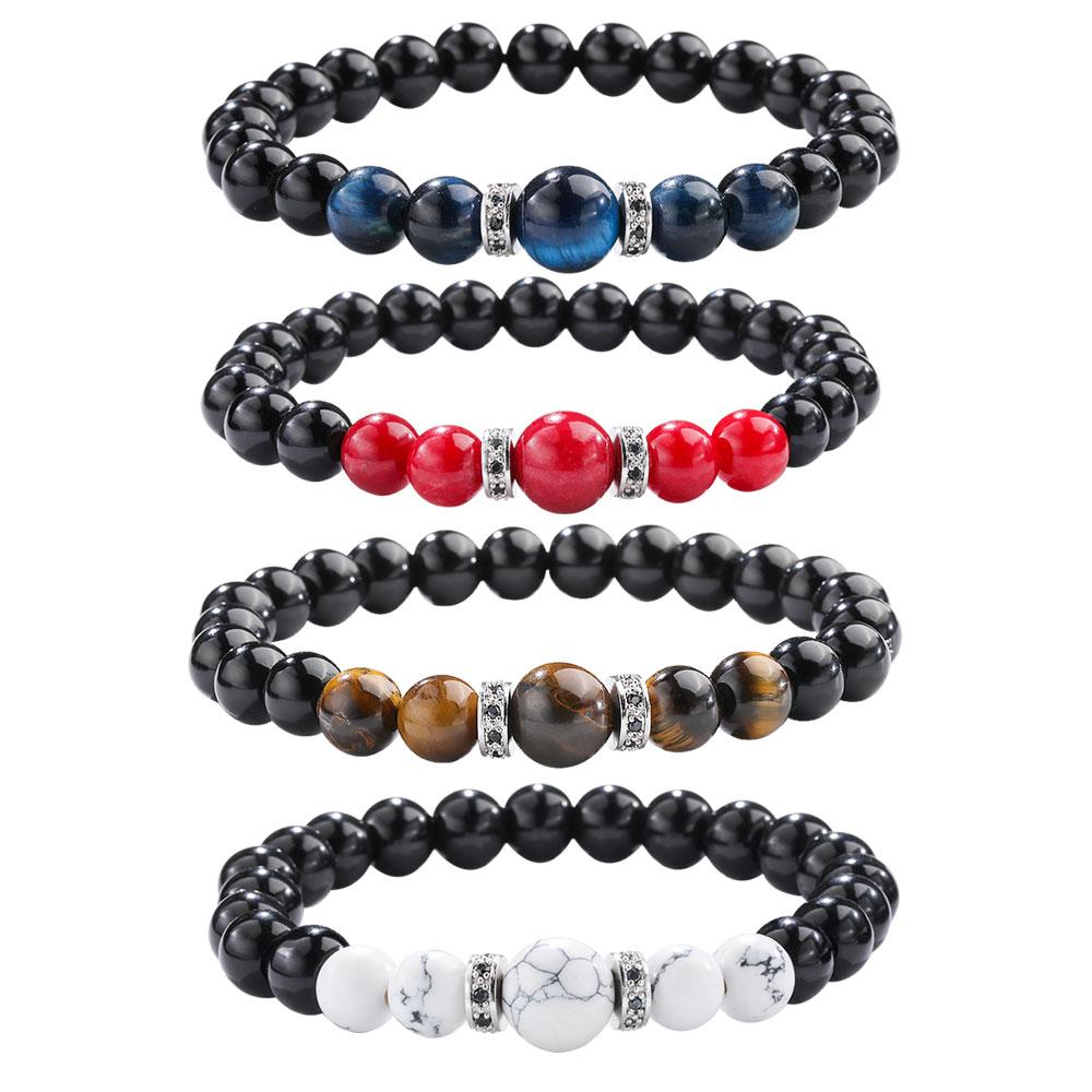 Women Men Natural Stone Bracelets Gifts Yoga Beads Bangle Fashion Colorful Stone Crystal Bead Bracelet Jewelry