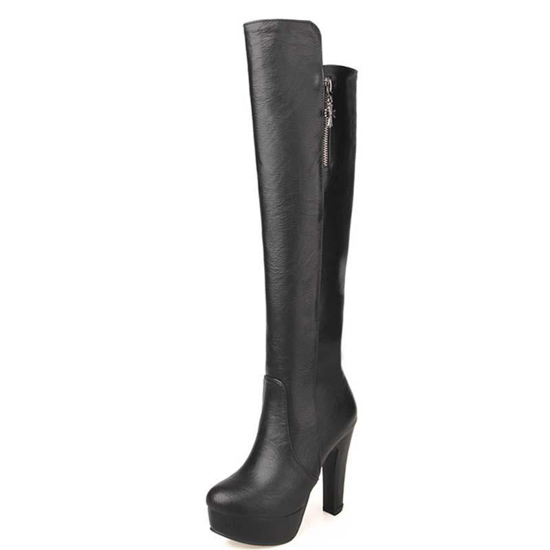 ANMAIRON PU de rodilla del cuero de alta Ronda del dedo del pie cuadrado de tacón alto botas largas para las mujeres caliente multicolor nuevo de la manera Tamaño grande Botas 43