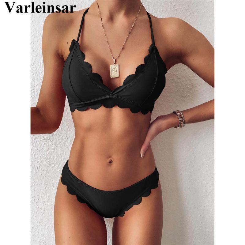 2020 festonnée Mid taille Bikini Femme Maillot de bain femme Maillots de bain deux-pièces bikini ensemble Halter Baigneuse de bain Maillot de bain Lady V2446