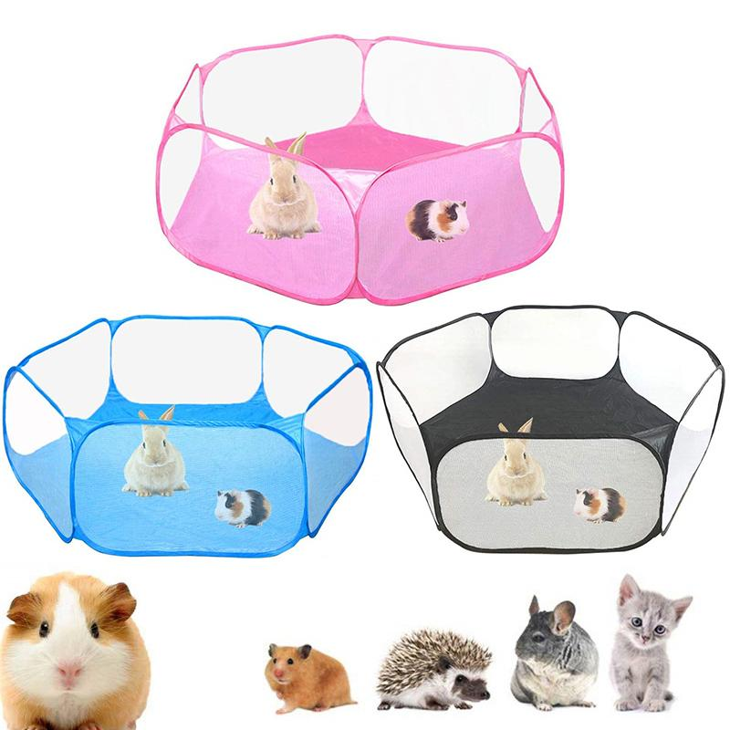 NEW Animals Breathable Folding Fence Portable Small Pet Cage Tent Playpen For Hamster Hedgehog Puppy Cat Rabbit Guinea Pig