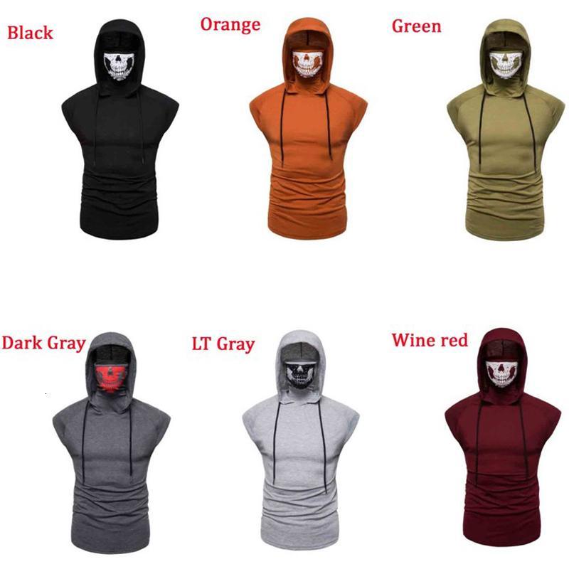 Patchwork Máscara Facial t shirt com projeto do crânio dos homens sem mangas com capuz da camisola Homem camisola Top para a Primavera Verão Vestuário