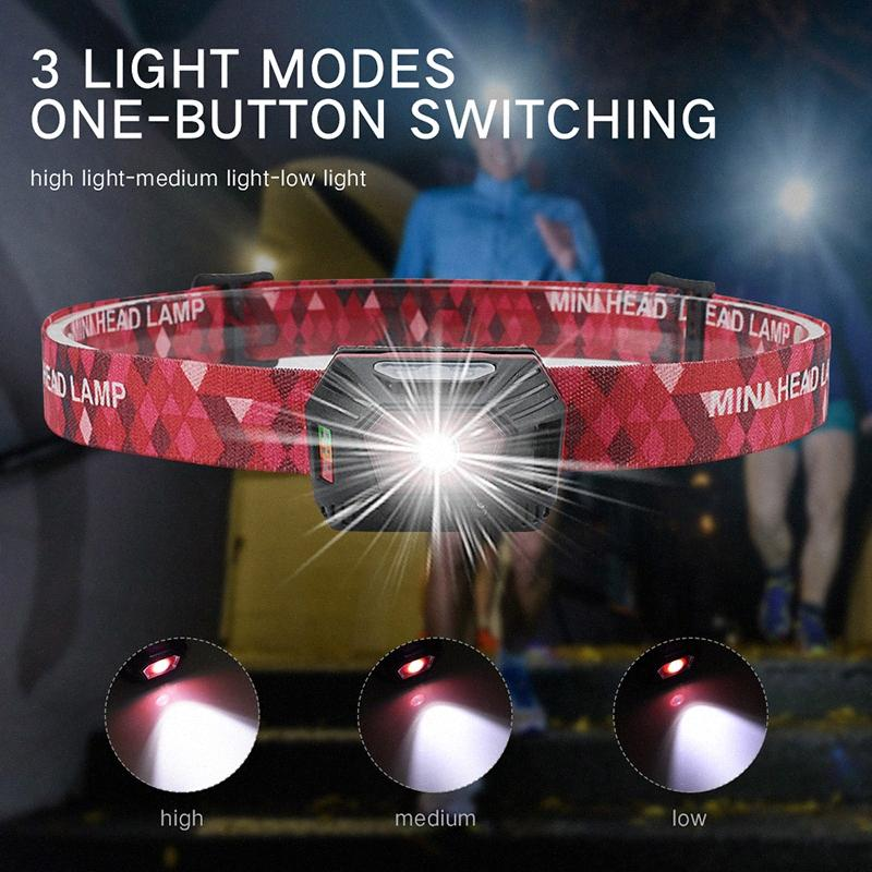 Mini Portable Headlights Body Motion Sensor Built In Batteries Headlamp Head Light Lamp XPE LED For Running/Fishing/Cycling 0Iy7#