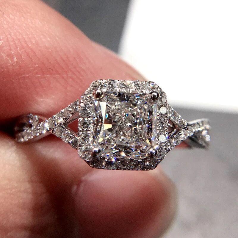 Vecalon Mode Damenring Prinzessin Schnitt 1 ct Diamant Cz 925 Silber Schmuck-Verpflichtungs-Hochzeit Band Ring für Frauen Gif