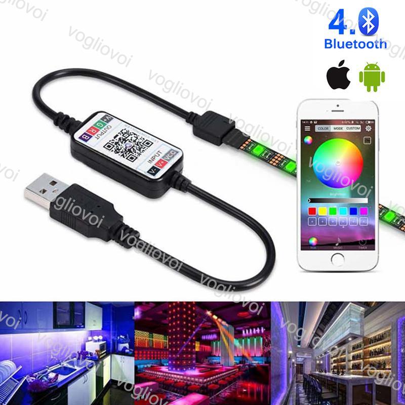 Controladores RGB Bluetooth Multicolour USB DC5-24V MUDÁVEL 4PIN 0.3M Acessórios de iluminação de fio para 5050 3528 Módulos de tira DHL