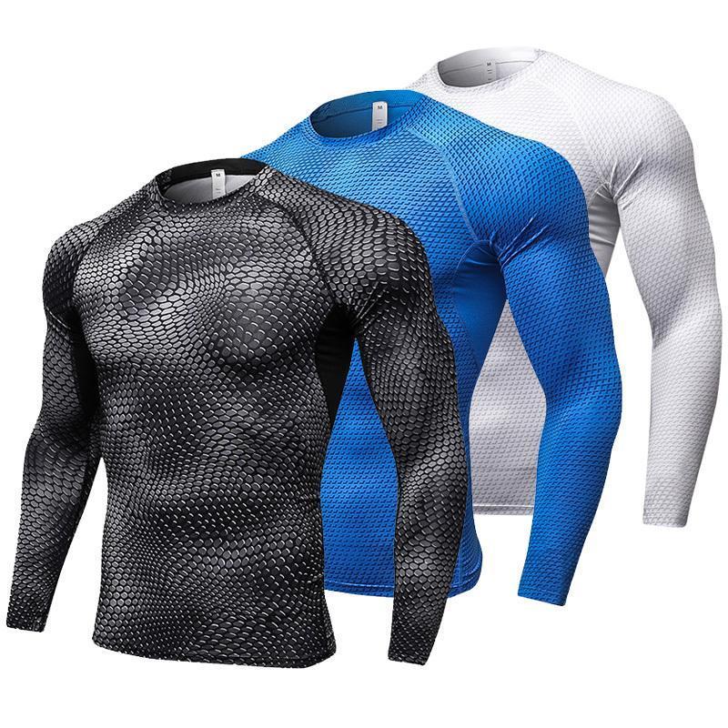 Nuova manica lunga Sport Shirt Men Quick Dry maschili in esecuzione magliette Snake palestra abbigliamento fitness Top Mens Rashgard maglia da calcio