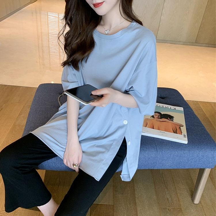 Md6m7 2020 Yaz yeni rahat pantolon takım elbise kadın tasarım Uzun yan bölünmüş moda bacak Geniş geniş bacak pantolon Batı tarzı iki parçalı stili ayarlamak ISCq