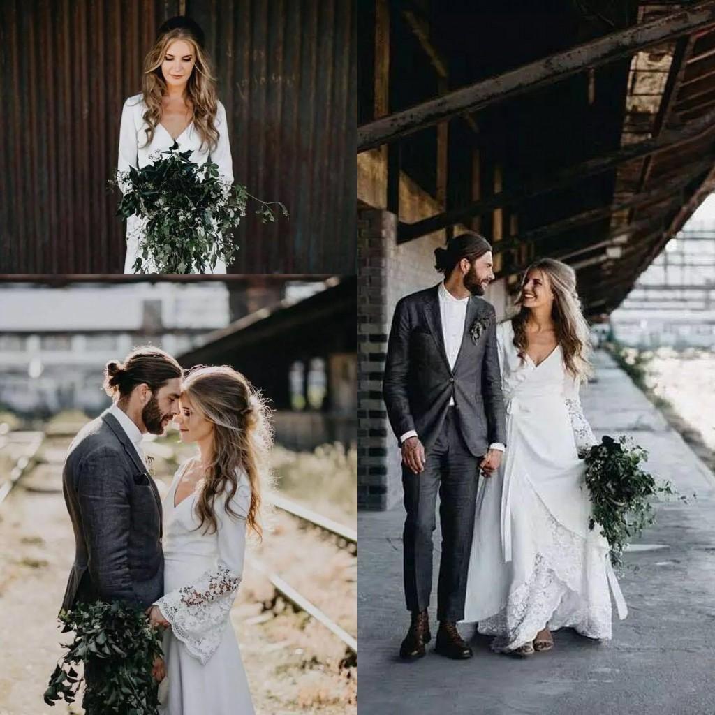 Elegant Boho Wedding Dresses Hippie Country Crochet Lace A Line Bohemian V -Neck Long Sleeve Elegant Bridal Gowns Plus Size Vestido De Noiva