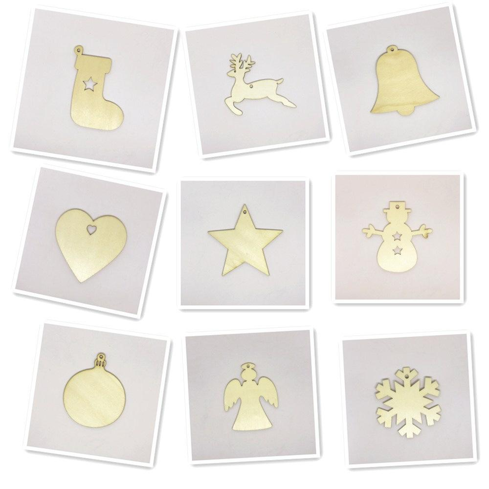 Wooden Crafts Christmas Snowman Wood Chips Home Christmas Tree Decorations Small Pendants 10pcs Decorations