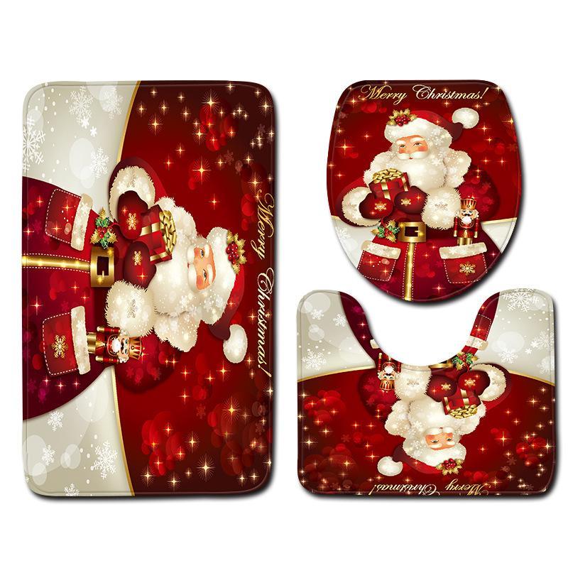 MINIFUN de Natal do boneco de neve casa de banho tapete capacho banheiro tapete antiderrapante três peças