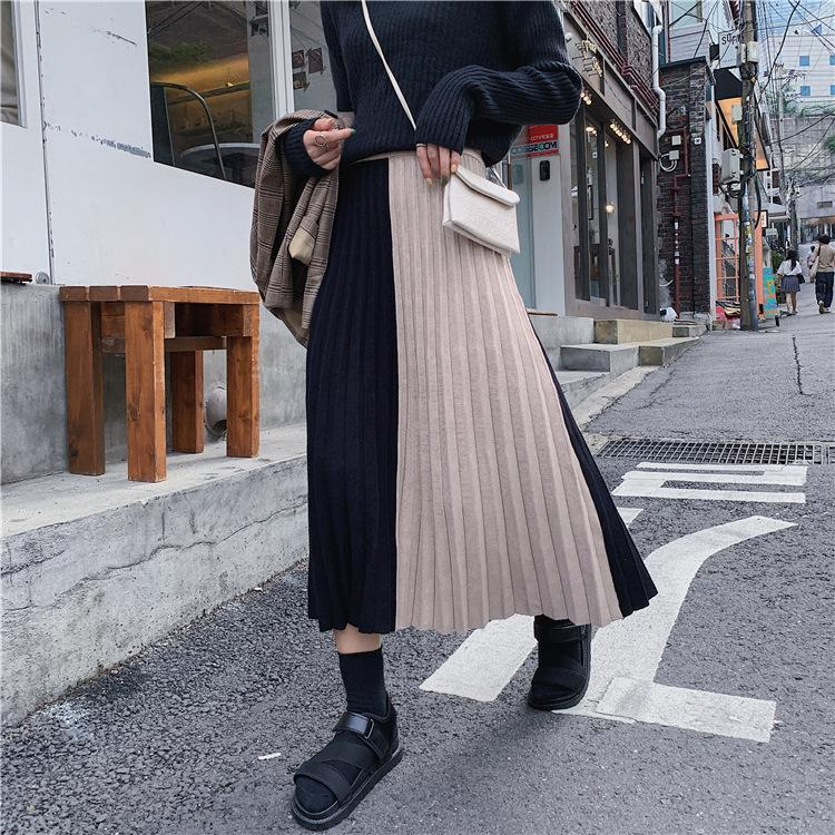 New Style for Autumn and Winter Knitted Skirt Stitching Striped Woolen Pleated Skirt Retro Thick Wool Midi A- line