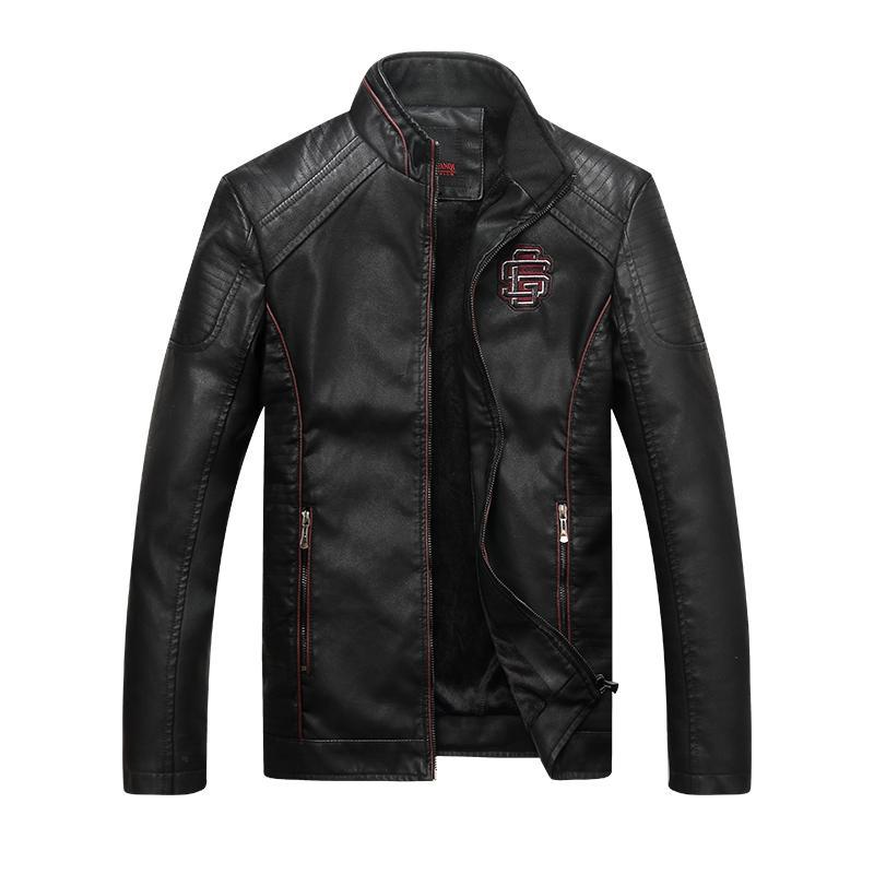 Chaquetas de cuero de imitación de los hombres clásicos de la bici del vaquero Chaqueta tamaño asiático capa del invierno masculino grueso abrigos 5XL alta calidad 16