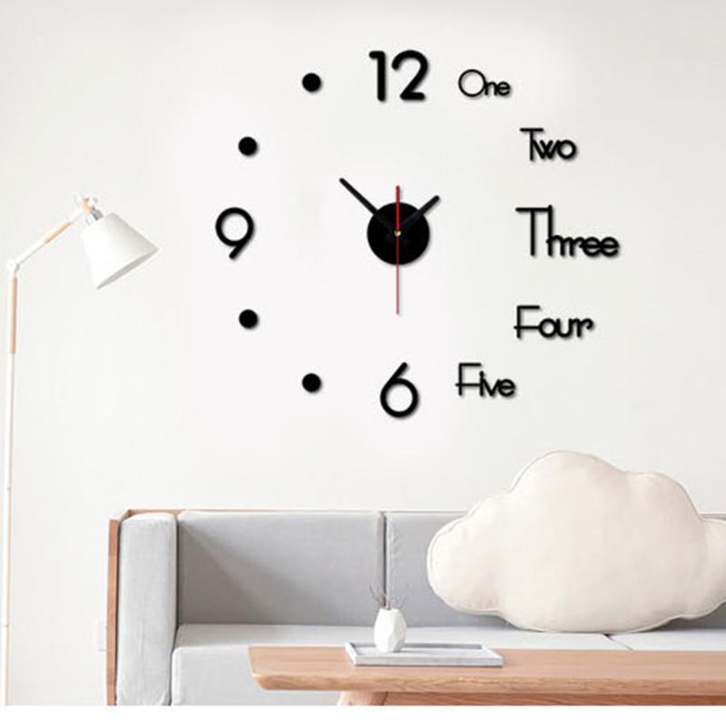 Kunst-Abziehbild-Hauptdekor-moderner Dekor für Wohnzimmer Schlafzimmer Haus Frameless 3D DIY Wanduhr Acryl Spiegel Aufkleber