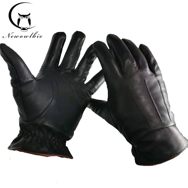 Véritable Gants en cuir pour homme noir Gants en peau de mouton réel de haute qualité marque de mode d'hiver chaud mitaines New 201019