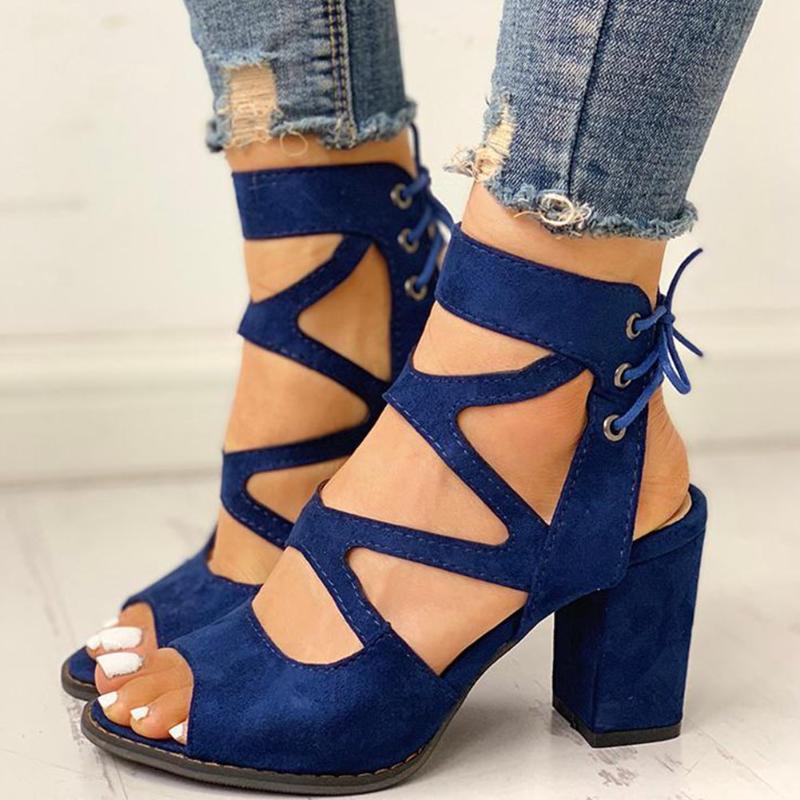 GIGIFOX Совершенно новый 2021 квадратных высокие каблуки гладиатор шнурков летом сандалии отдыха элегантные женские туфли