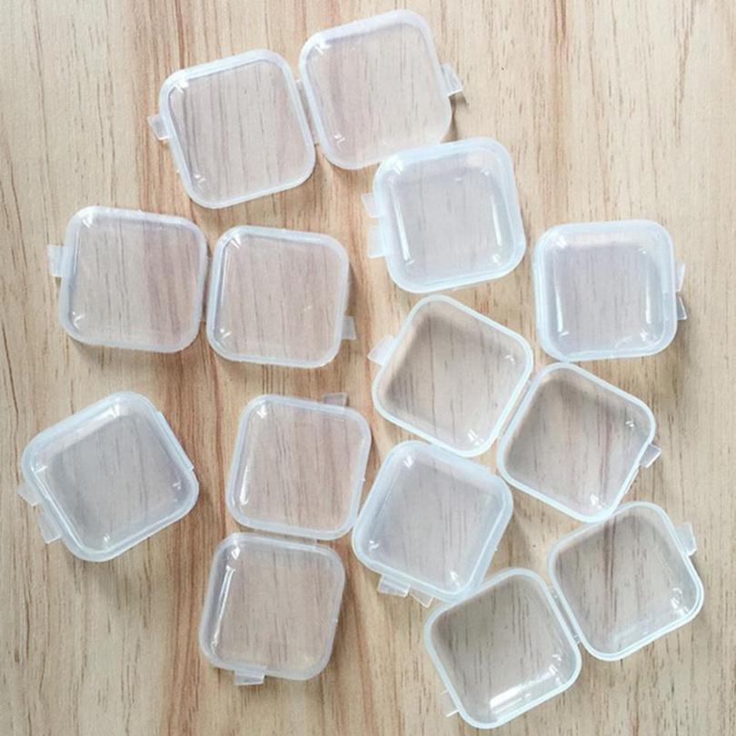 Carré vide Mini plastique transparent Conteneurs Box Case avec Couvercles Petite boîte à bijoux Boîte de rangement Earplugs HHA1594