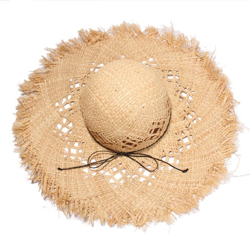 حار بيع أزياء المرأة القبعات الواسعة الحافة الصيف الشخصية رافي قبعة من القش في الهواء الطلق الإبداعية الجوف قبعات للسيدات