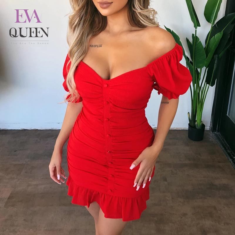 EvaQueen Yaz Kırmızı BODYCON Seksi Elbise Kadınlar Kapalı Omuz V Yaka Düğme Mini Parti Elbise Şık Club Holiday vestidos