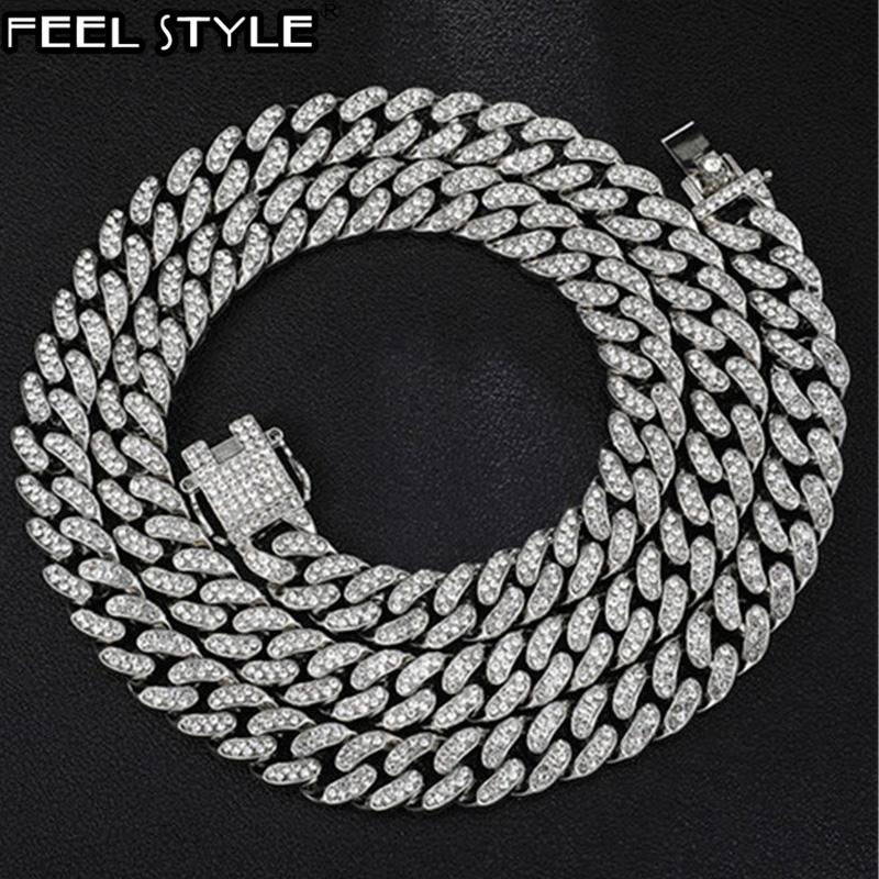 Iced Out plein Miami Pavée strass 1Régler 13MM Or Or Curb Chain Cuba CZ Bling Rapper Colliers pour hommes Hip Hop Bijoux
