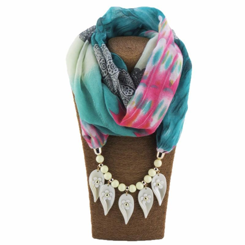 contas de poliéster colar pingentes Collar Folhas Cachecol Flores pingentes de moda étnica Mulheres jóia colar de Anel Turban