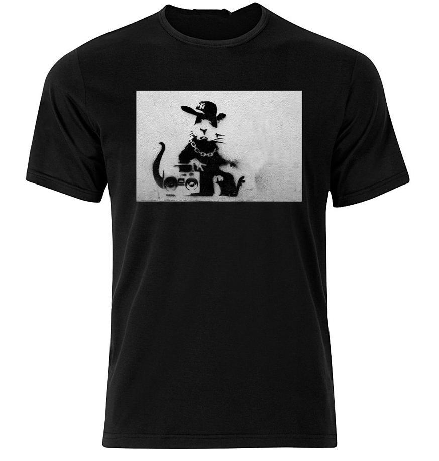 Rap Rat Banksy - T shirt gráfico Cotton Curto manga comprida Atacado Camiseta
