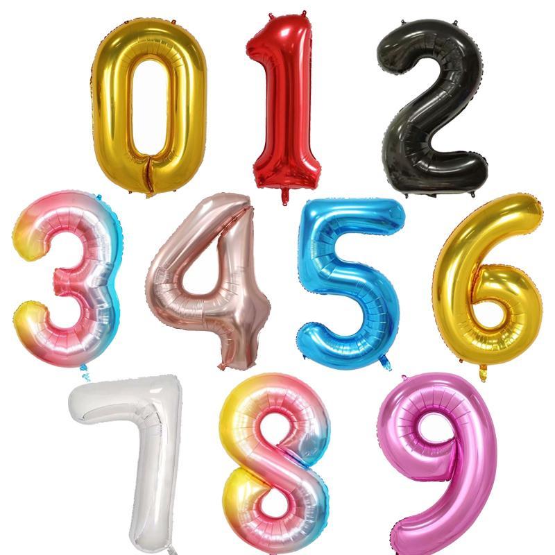 40inch Büyük Folyo Doğum Balonlar Helyum Numarası Balonlar Doğdun Parti Süsleri Çocuk Oyuncak Düğün Gelin Hava Globos Şekil