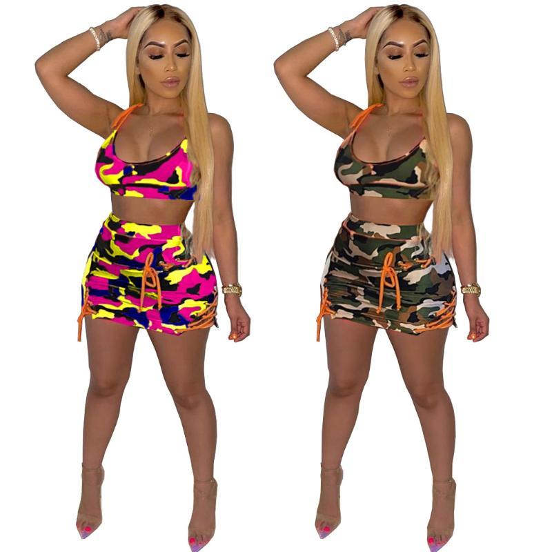 Echoine Femmes Sexy Club Camouflage Imprimer Ensemble deux pièces Set Survêtement Débardeurs Up Jupe moulante Mini Costume Fitness Robe Outfit