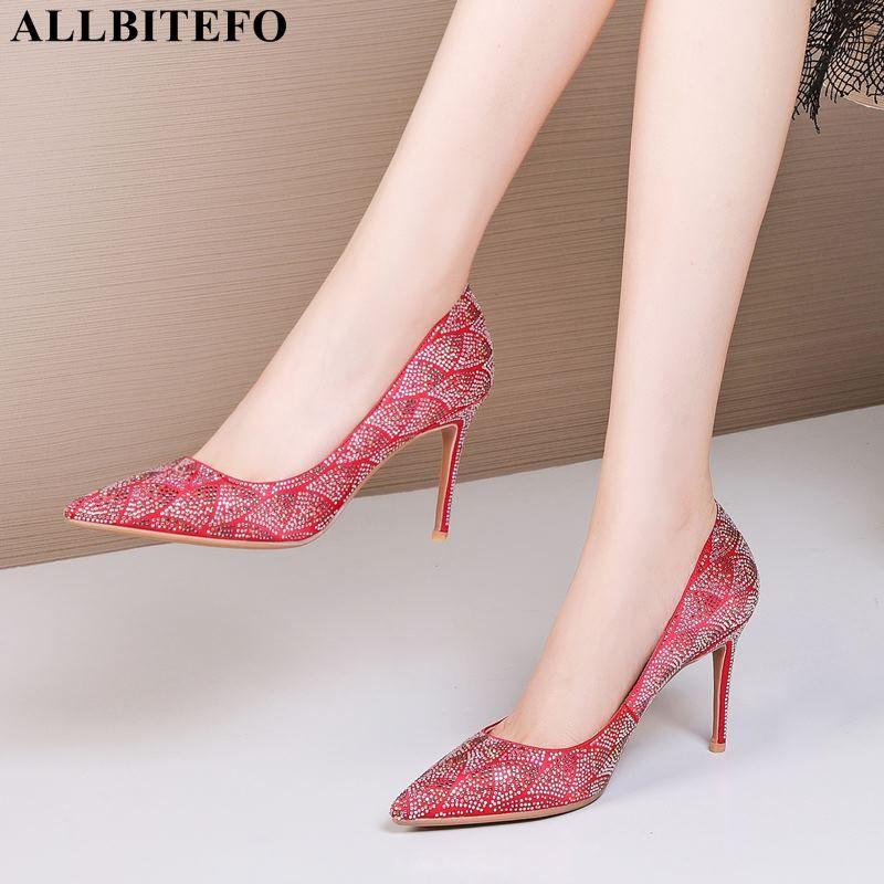 ALLBITEFO moda strass sensuais saltos altos de casamento das mulheres sapatos de alta qualidade sapatos de salto mulheres calcanhar partido Woemn