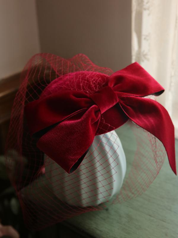 2020 elegante Cocktail Ladies clipes Fascinator Hat casamento cabelo extravagantes formais Wine Red Party Branco Grande Velvet Bow Véu Mantilha