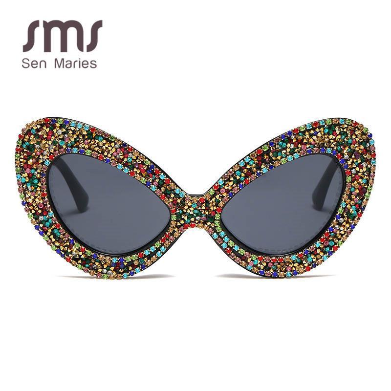 Occhiali da sole da sole oculos eleganti occhiali da sole colorati colorato vintage perla occhio oversize gatto strass per lady Piece Punk Glasses One PQWXI
