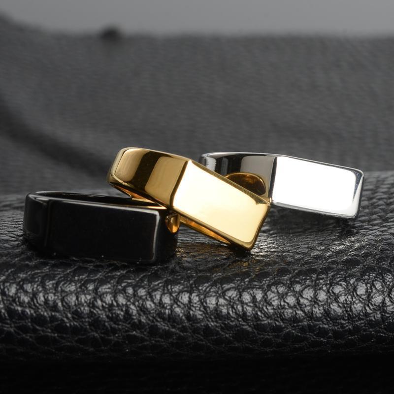 Plata de acero del color de los anillos para hombre 2020 Moda Negro Oro inoxidable para Muchacho y amistad anillo de los hombres joyería simple anillo masculino