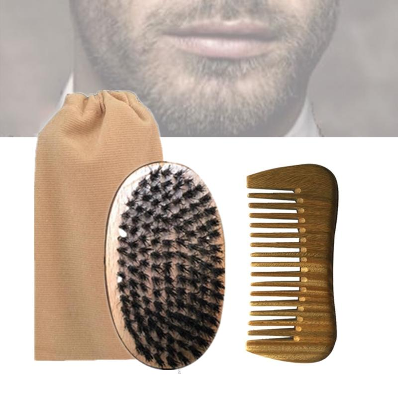 New 3in1 Boar Bristle Palm Brush & Wide Wood Comb Cotton Bag Set Travel Carry Makeup Fashion Hair Care Styling Tool Men Beard Grooming