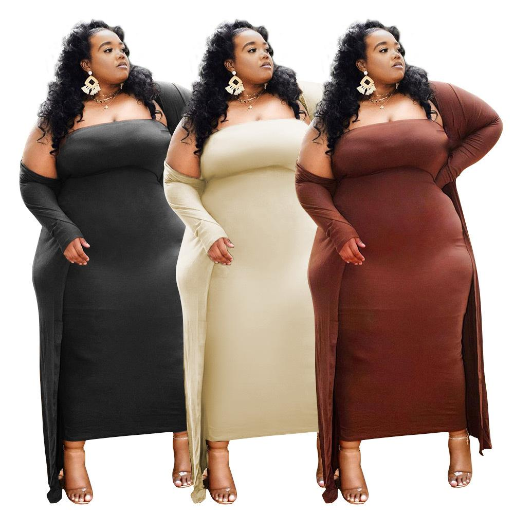 Plus Size Donne Abbigliamento Solid Dress Sards Sexy Two Piece Party Dress 2021 Nuovi arrivi Abito all'ingrosso