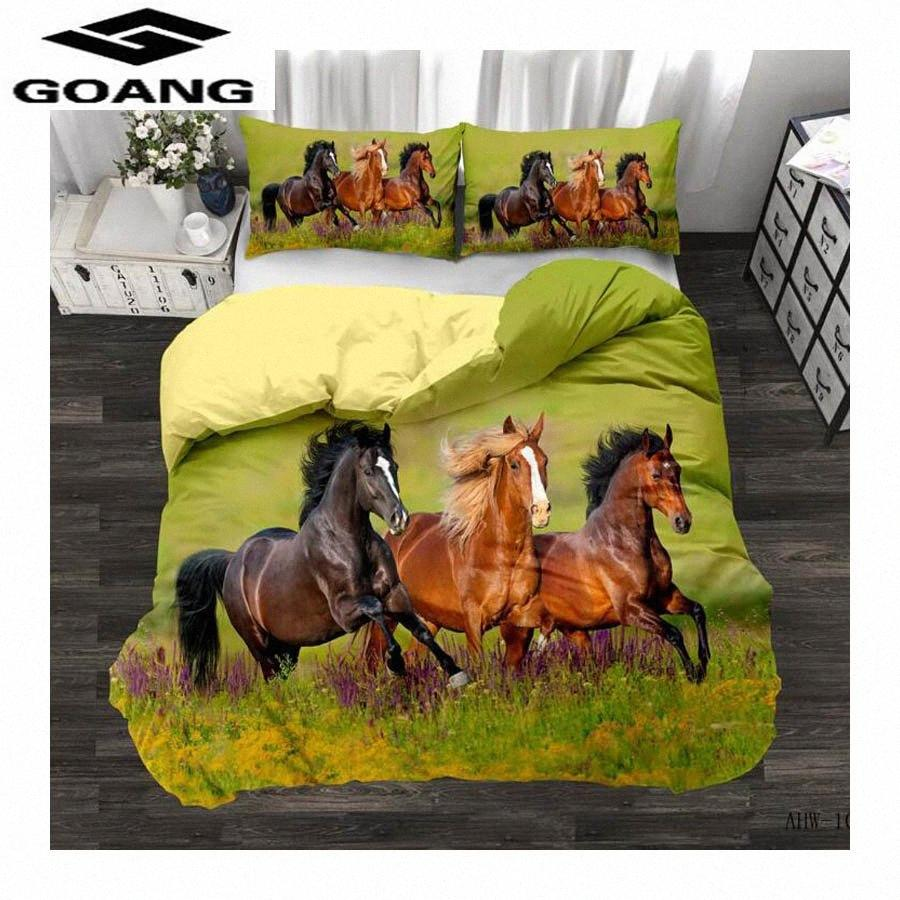 GOANG Theme Hotel Bedding Sets Bed Sheet Duvet Cover And Pillowcase Home Textiles 3d Digital Printing Horse Running zEd5#