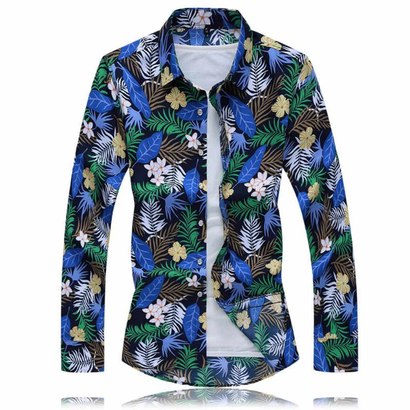 Hawaiian shirt for men Autumn Shirts Casual Streetwear Long Sleeve Flower Printed Turn Down collar Beach Tops Mens Clothing