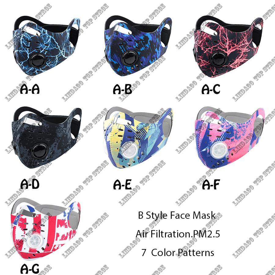 Nouveau visage Masque Masques Activated Anti-pollution Protection Outdoor Gear Hommes Femmes Anti-poussière Droplet Masque visage avec filtre pour le cyclisme
