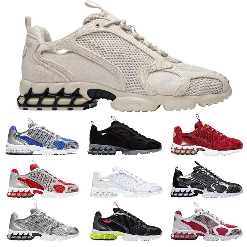 Stussy x Nike Hava Zoom Spiridon Kafesli mens des chaussures koşu ayakkabı Metalik Gümüş Siyah Üçlü Beyaz Saf Platin erkekler bayan eğitmen spor sneakers