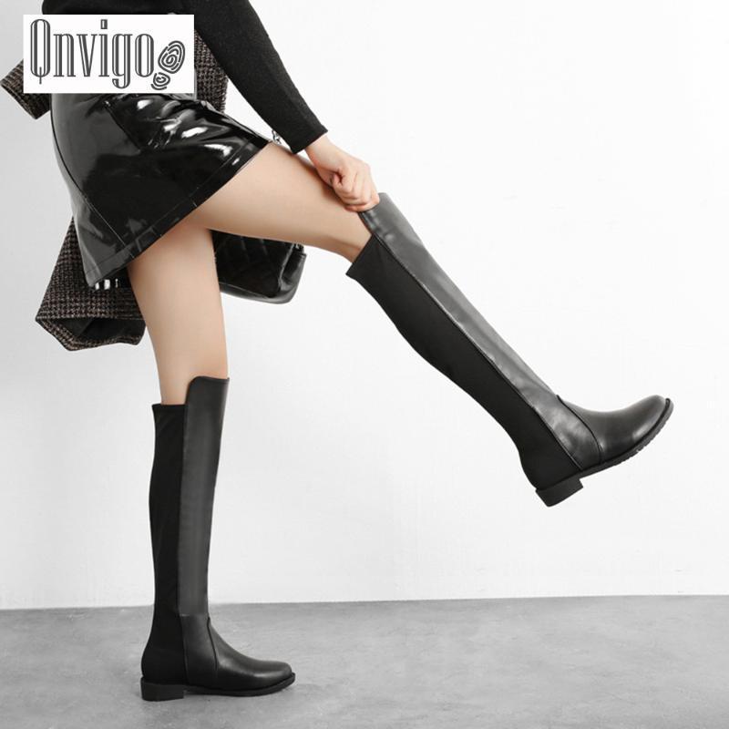 Qnvigo Boots Kadın Gerçek Deri Artı boyutu 10 Flock Patchwork Bayanlar Yüksek Batı Kovboy Kış Jeans Kadın Diz Yüksek Boots