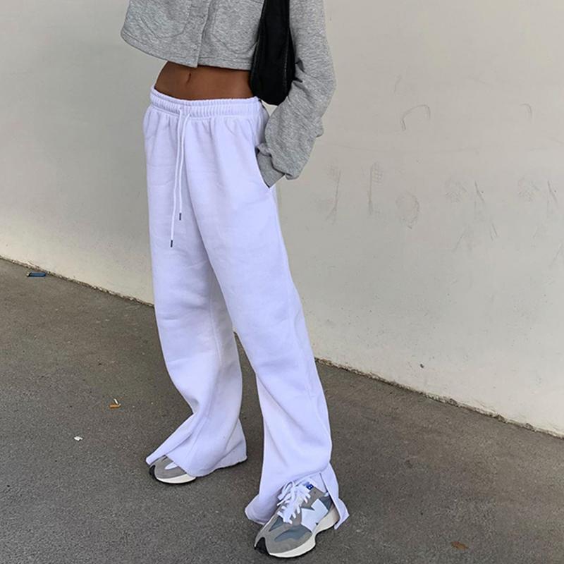 2020 White Solid beiläufige Frauen-breite Bein-Hosen mit hoher Taille und Kordelzug Jogginghose Baggy Street Hip Hop Hose AS41743