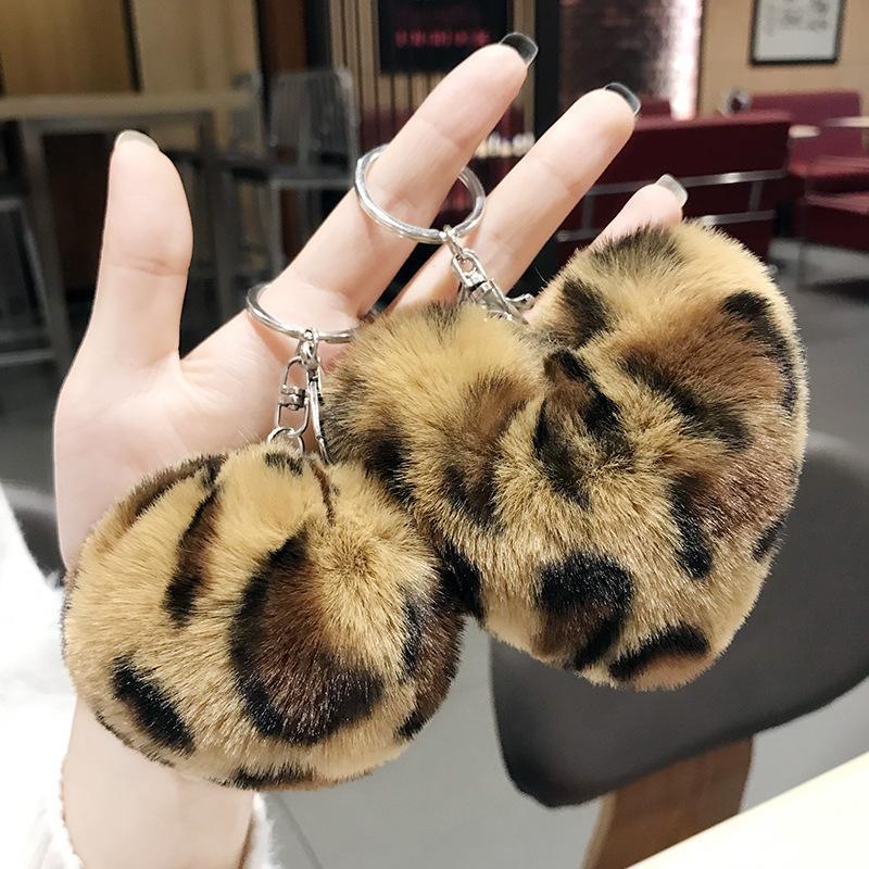 ليوبارد رقيق الكرة لطيف المفاتيح حقيبة سيارة قلادة بومبوم الحب مفتاح سلسلة الملحقات بالجملة في الهدايا الإبداعية