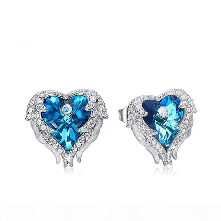 Luxus-Designer-Schmuck-Frauen-Ohrringe Iced Out Bling Diamant-Ohrringe Damen Silber Ohrstecker-Ohr-Ring-Kristallherz Ozean Hochzeit Zubehör