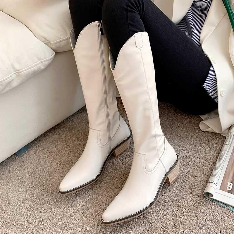 2020 nuovi stivali da cowboy stile coreano tubo lungo retrò tacchi alti stivali da donna punta a punta